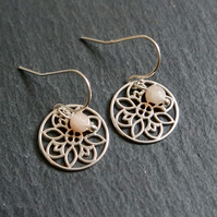 Peruvian Pink Opal Mandala Silver Earrings