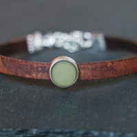 Leather bracelet - dark brown olive silver