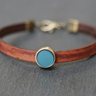 Leather bracelet - dark brown teal antique gold