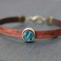 Leather bracelet - shimmering teal antique gold