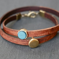 Leather wrap bracelet - teal antique-gold brown
