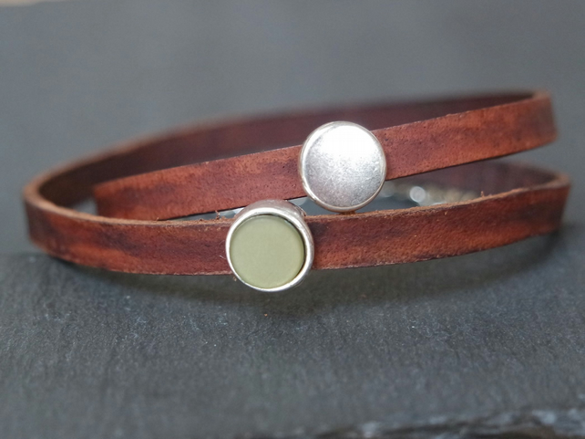 Leather wrap bracelet - olive silver brown