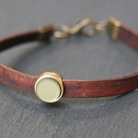 Leather bracelet - dark brown olive antique gold