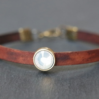 Leather bracelet - dark brown antique gold bronze opal-white crystal