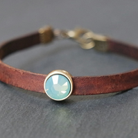 Leather bracelet - dark brown antique gold bronze opal-turquoise crystal