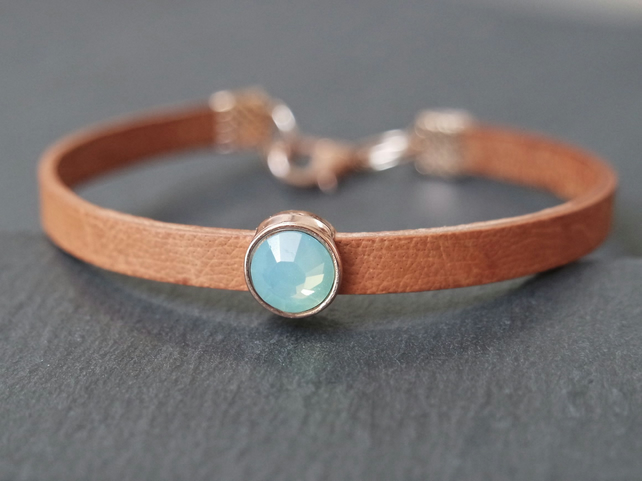 Leather bracelet - tan rose gold opal-turquoise crystal