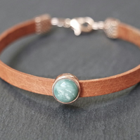 Leather bracelet - tan rose gold turquoise shimmer swirl