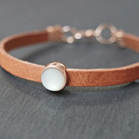 Leather bracelet - tan rose gold pastel light blue