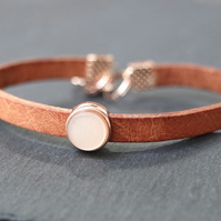 Leather bracelet - tan rose gold pastel light beige