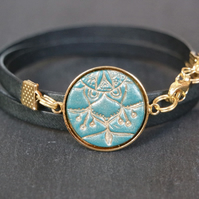 Leather bracelet - mandala black turquoise bronze