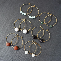 Minimal Gemstone Hoops Gold Goldstone red
