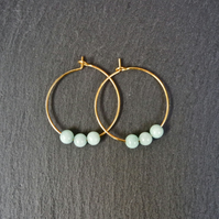 Minimal Gemstone Hoops Gold Turquoise