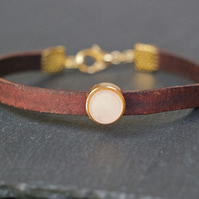 Leather bracelet - brown gold pastel light beige