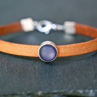 Leather bracelet - tan blue silver beige