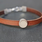 Leather bracelet - brown silver pastel light beige