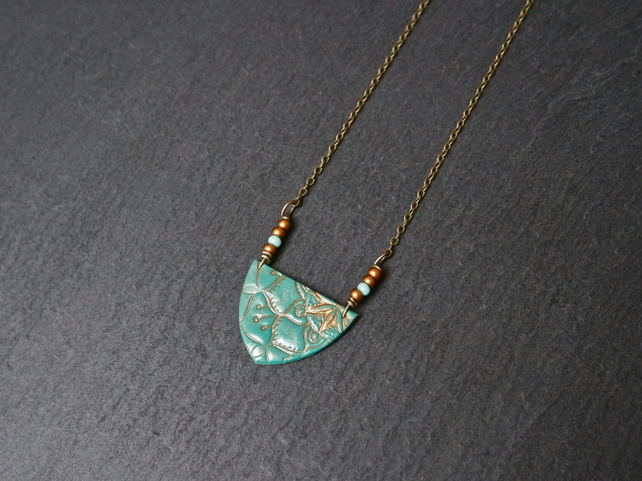 Necklace - Mandala gold turquoise with seed beads