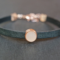 Leather bracelet - rose gold black beige