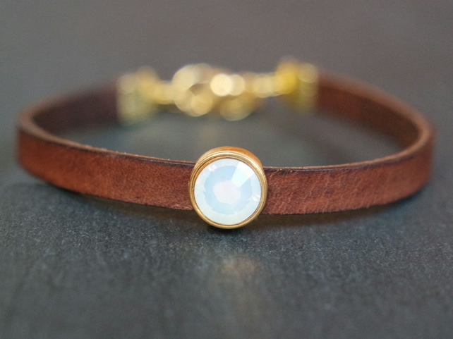 Leather bracelet - dark brown gold bronze opal-white crystal