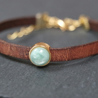 Leather bracelet - turquoise swirl brown gold