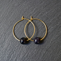 Minimal Gemstone Hoops Gold Goldstone dark blue