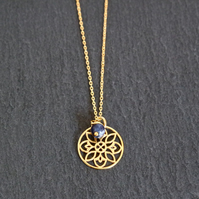 Vermeil 925 Sterling Silver Flower Mandala Necklace - Sodalite gold-plated