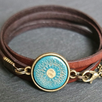 Leather bracelet - mandala turquoise bronze brown