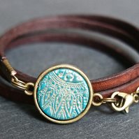 Leather bracelet - mandala flower turquoise bronze brown