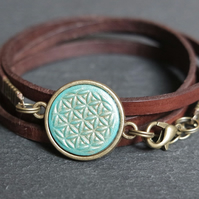 Leather bracelet - flower of life mandala turquoise bronze brown