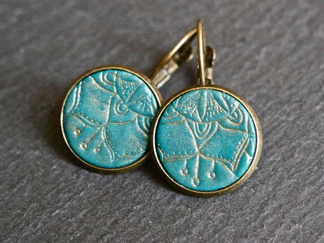 Earrings - Mandala bronze turquoise large