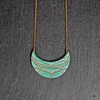 Gold Vermeil Sterling silver Necklace - Mandala turquoise Polymer Clay