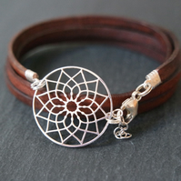 Sterling Silver Dreamcatcher Mandala Leather Wrap Bracelet