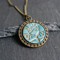 Necklace - Mandala Flower turquoise antique gold bronze