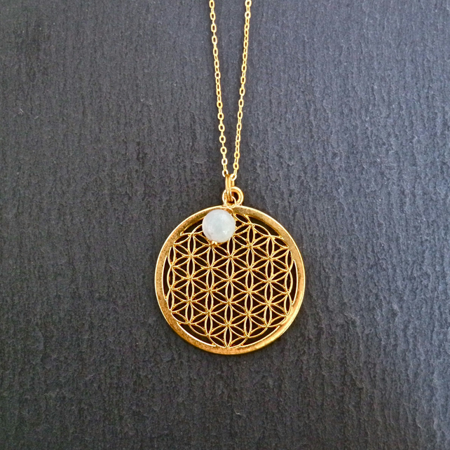 Necklace - flower of life with a blue amazonite bead