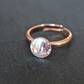Ring - swarovski crystal rainbow patina rose-gold plated adjustable