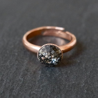 Ring - swarovski crystal black patina rose-gold plated adjustable