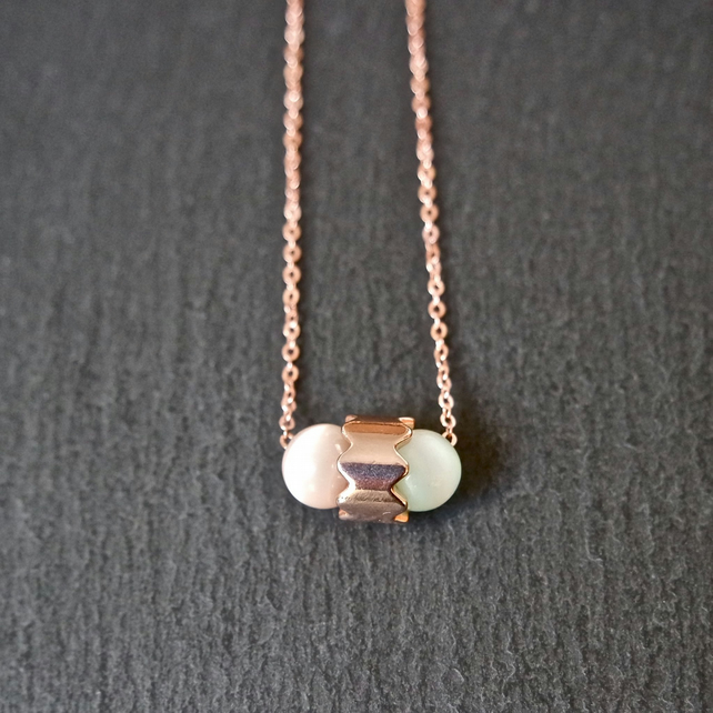 Necklace - candy coloured rose gold plated double capsule cats eye beads