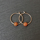 Gold Filled Hoops - burma jade amber-coloured