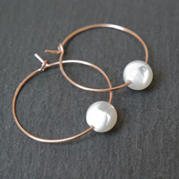 Rose Gold Filled Hoops - Mother of Pearl