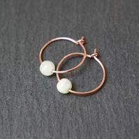 Rose-Gold Filled Hoops - burma jade off white