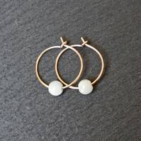 Gold Filled Hoops - burma jade off white