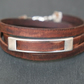 Leather wrap bracelet - rectangular brown silver