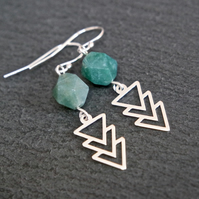 Sterling Silver Gemstone Earrings - Moss Agate faceted arrows