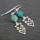 Silver Gemstone Earrings - Moss Agate faceted and arrows
