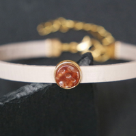 Leather bracelet - shimmering amber gold