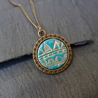 Necklace - Geometric pattern turquoise antique gold bronze