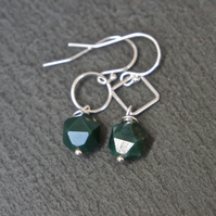 Sterling Silver Gemstone Earrings - Moss Agate faceted geometric shapes