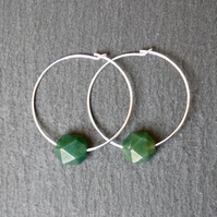 Sterling Silver Hoops - Moss Agate faceted