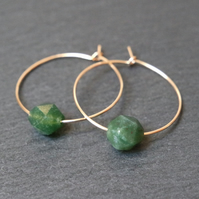 Gold Filled Hoops - Moss Agate faceted