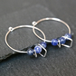 Sterling Silver Hoops - Sodalite geometric shapes