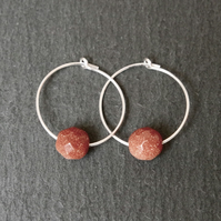Sterling Silver Hoops - Red Goldstone Faceted
